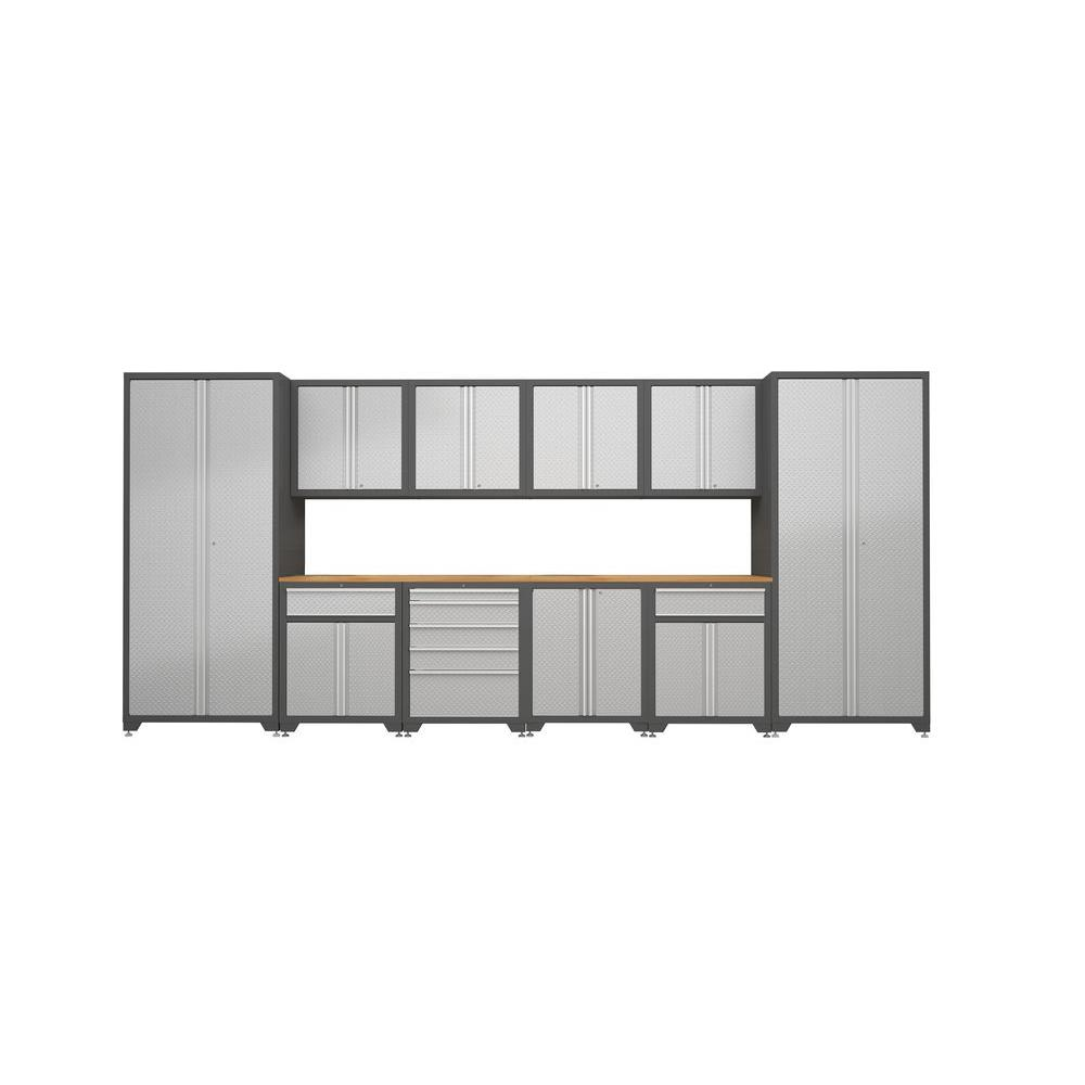NewAge Products Pro Diamond Plate Series 184 in. W x 82.5 in. H x 24 in. D Freestanding Metal Cabinetry Set in Silver (12-Piece)