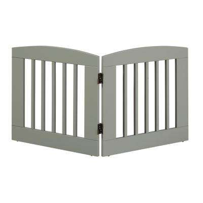 Ruffluv 24 in. H Wood 2-Panel Expansion Grey Pet Gate
