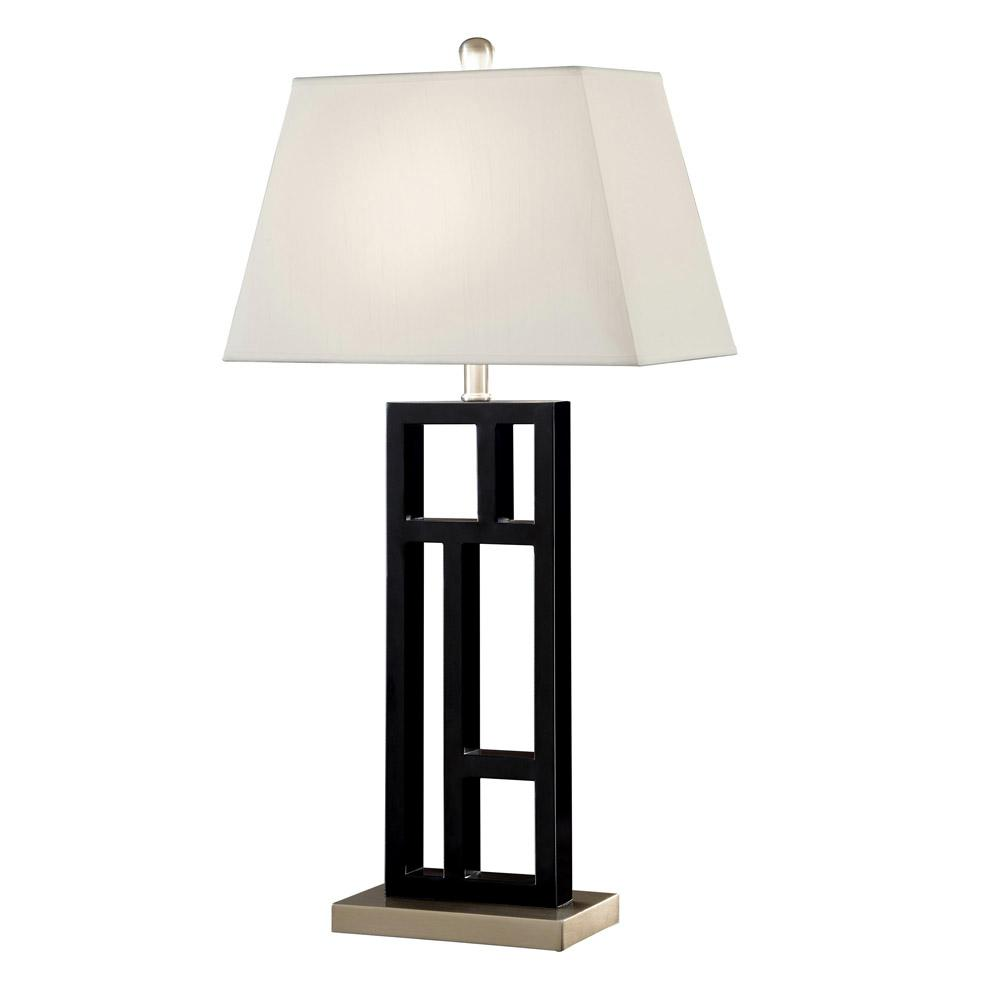 Ordinaire ARTIVA Perry Modern 31 In. Black And Brushed Steel Geometric Sculptured  Metal Table Lamp