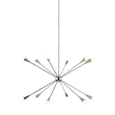 ED Ellen DeGeneres Crafted by Generation Lighting Jax 38 in. W 12-Light Polished Nickel Chandelier with Swivel Canopy