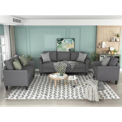 Classic Grey 3-Piece Dark Grey Living Room Set Sectional Sofa