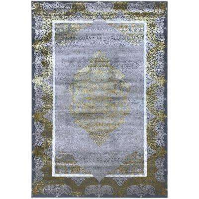 Silky Gold Collection Gold Palace 3 ft. x 5 ft. Anti-Bacterial Area Rug