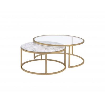 Amelia 16 in. Clear Faux Marble Gold Metal Engineered Wood 2-Piece Pk Nesting Table Set (Set of 2)