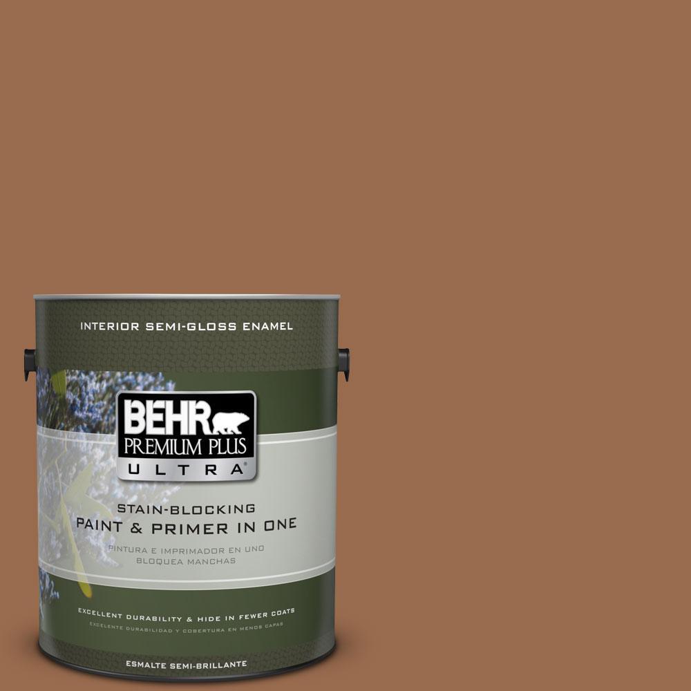 BEHR Premium Plus Ultra 1-gal. #S230-7 Toasted Bagel Semi-Gloss Enamel Interior Paint