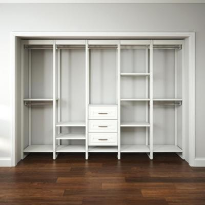 113 in. W White Adjustable Tower Wood Closet System with 3 Drawers and 18 Shelves