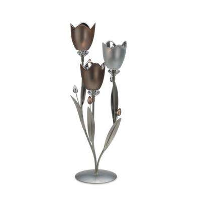 3-Light 19 in. Frosted Glass and Metal Tulip Centerpiece