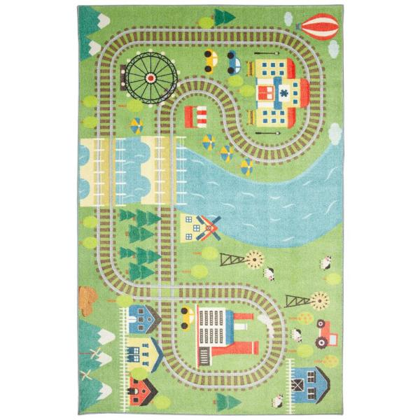 Train Track Play Multi 8 ft. x 10 ft. Indoor Area Rug
