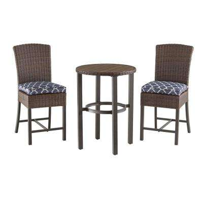 Brown 3-Piece Steel Outdoor Patio Bar Height Dining Set with CushionGuard Midnight Trellis Navy Blue Cushions