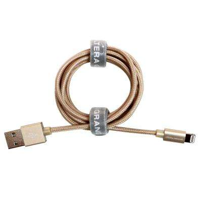 4 ft. Apple MFi Certified Lightning to USB Braided Cable with Aluminum Housing, Gold
