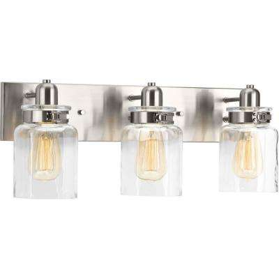 Calhoun Collection 3-Light Brushed Nickel Vanity Light with Clear Glass Shades