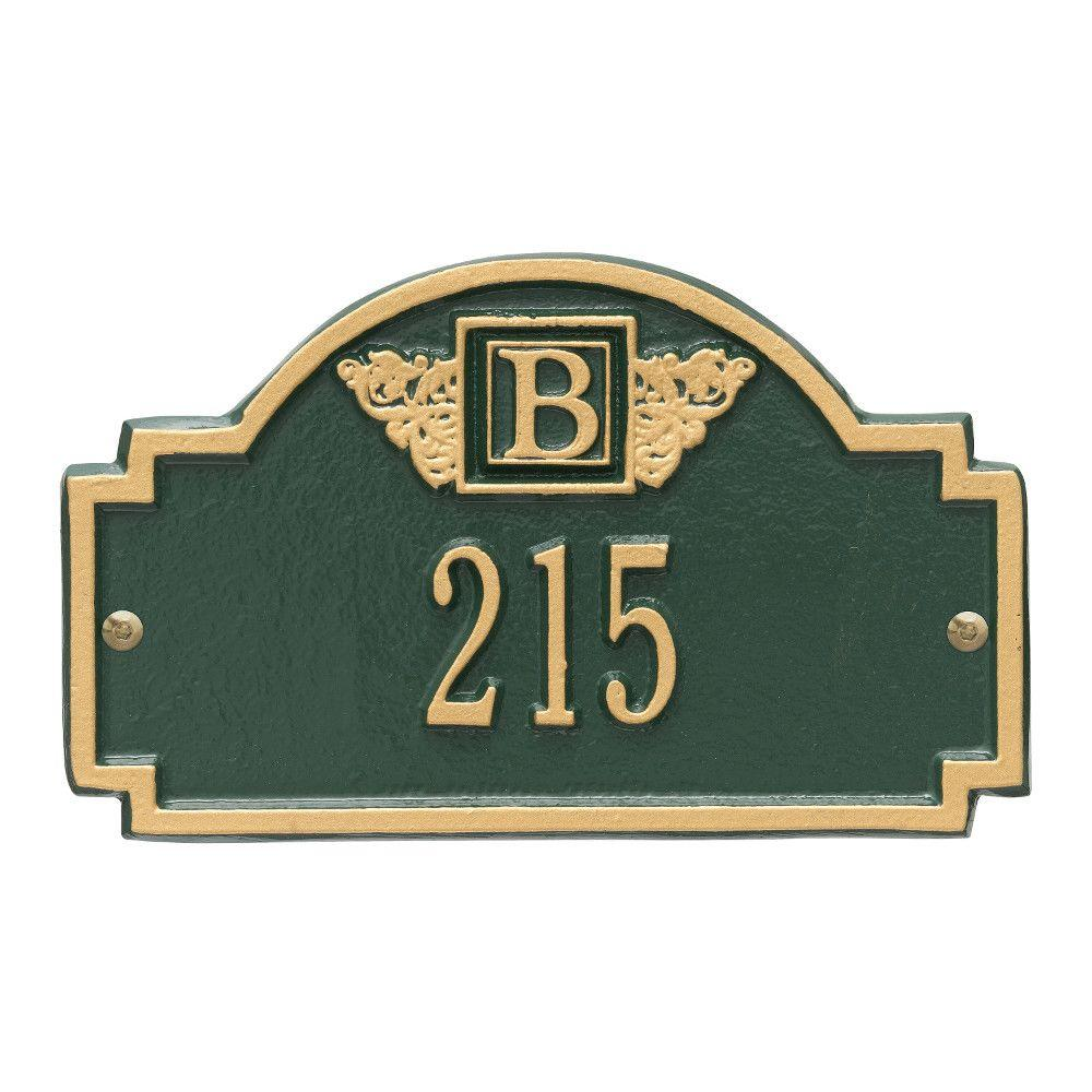 Whitehall Products Monogram Petite Wall Square Green/Gold 1-Line Address Plaque