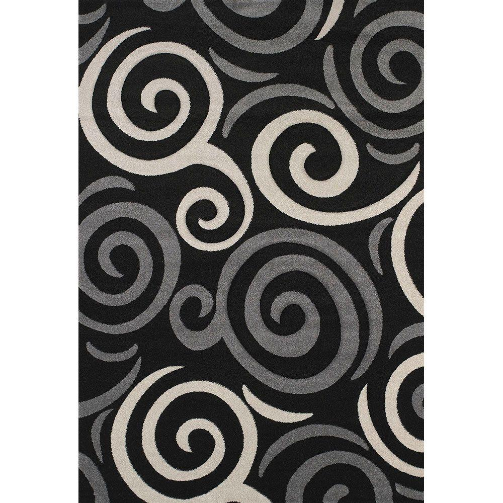 United Weavers Pinball Black 7 ft. 10 in. x 11 ft. 2 in. Area Rug