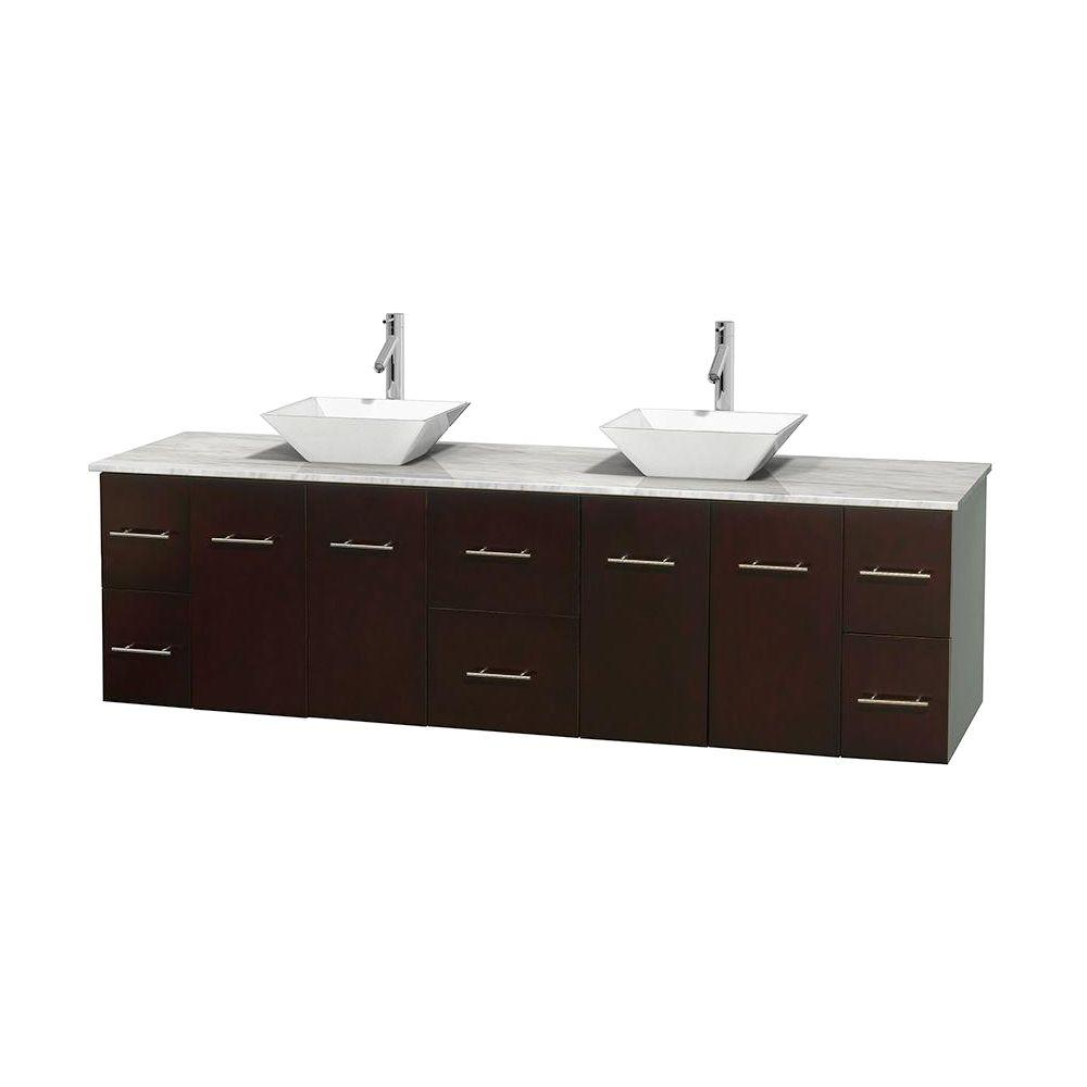 Wyndham Collection Centra 80 in. Double Vanity in Espresso with Marble Vanity Top in Carrara White and Porcelain Sinks