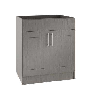 Assembled 24x34.5x24 in. Palm Beach Island Sink Outdoor Kitchen Base Cabinet with 2 Doors in Rustic Gray