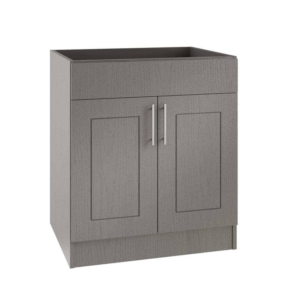WeatherStrong Assembled Xx In Palm Beach Open Back Sink - Grey kitchen base cabinets