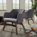 Vera Gray Fabric Upholstered Accent Chair
