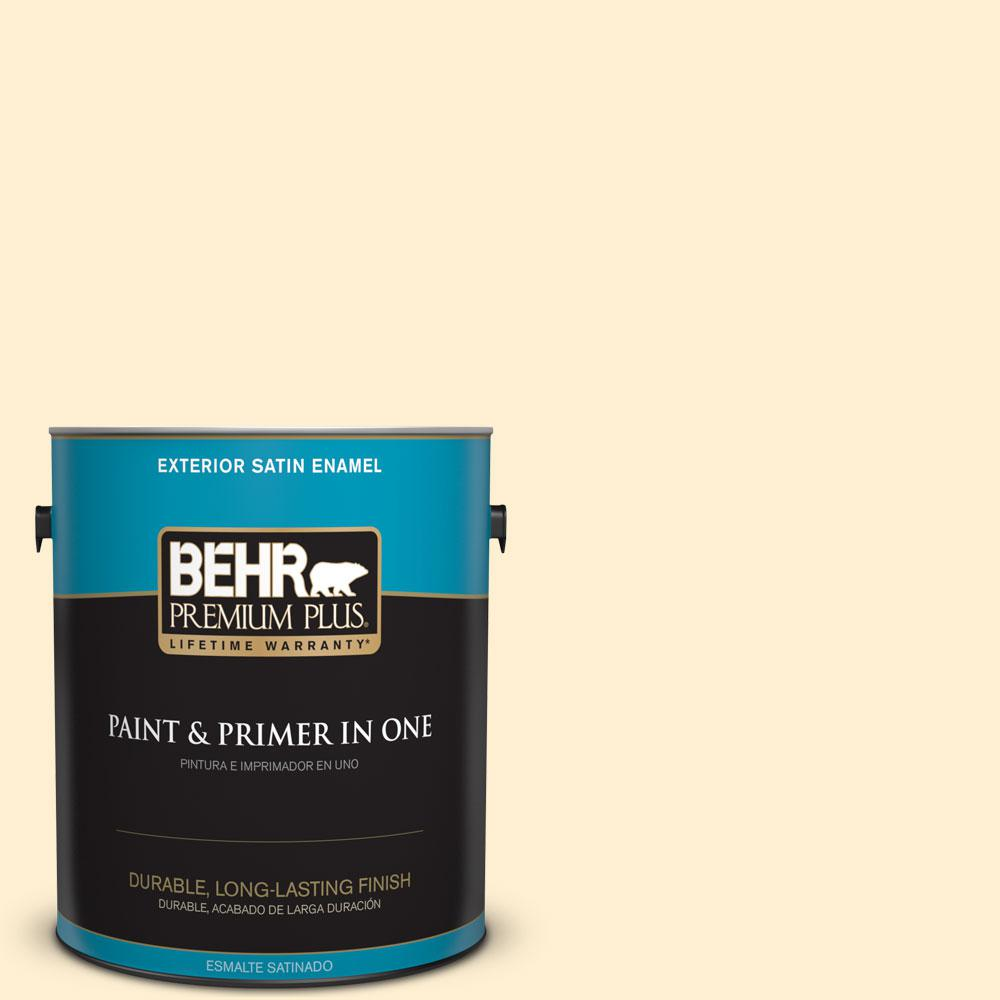 BEHR Premium Plus 1-gal. #330A-1 Bonnie Cream Satin Enamel Exterior Paint