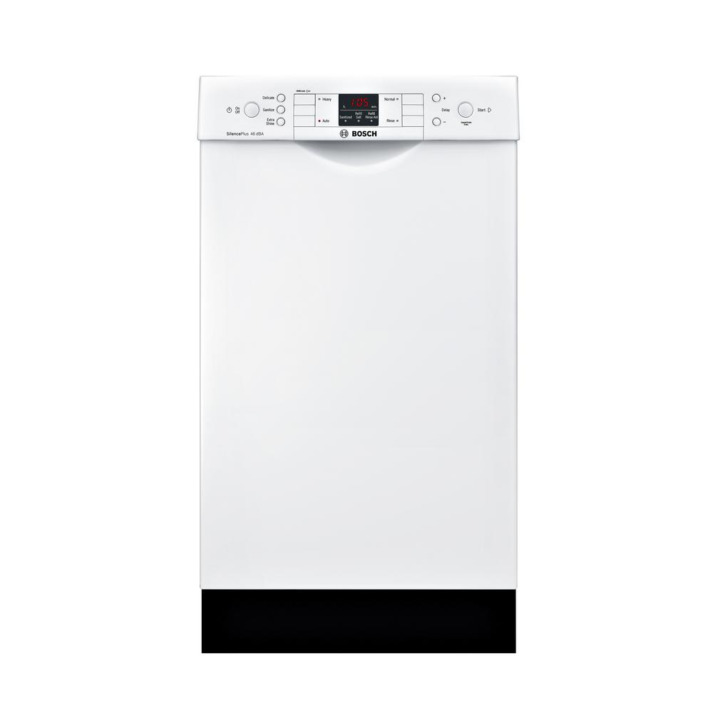 Bosch 300 Series 18 in. Compact Front Control Tall Tub Dishwasher in White with Stainless Steel Tub, 46dBA Our 18 in. ADA-compliant dishwashers are uniquely designed for customers with special height requirements and feature sophisticated technologies for quiet operation, outstanding performance and remarkable flexibility. Color: White.