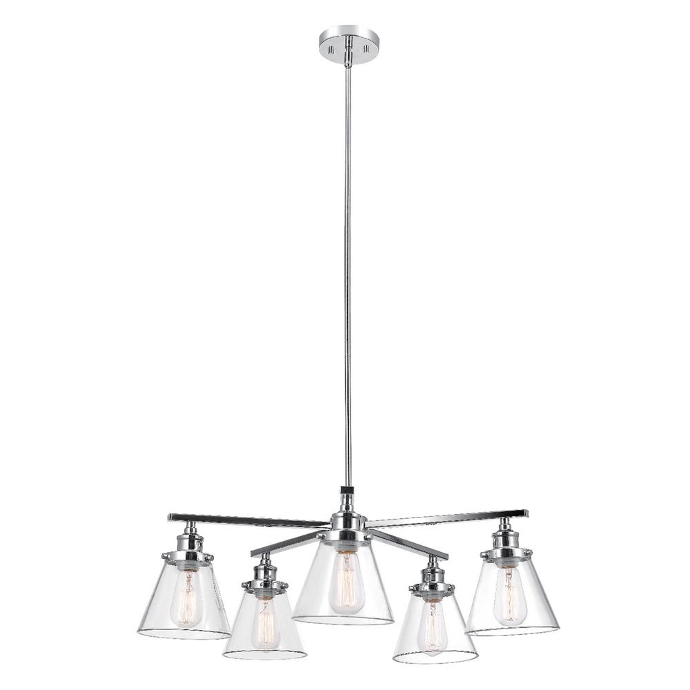 Globe Electric Jackson 5-Light Chrome Chandelier with Clear Glass Shades