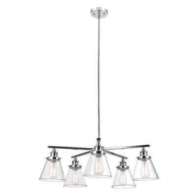 Jackson 5-Light Chrome Chandelier with Clear Glass Shades