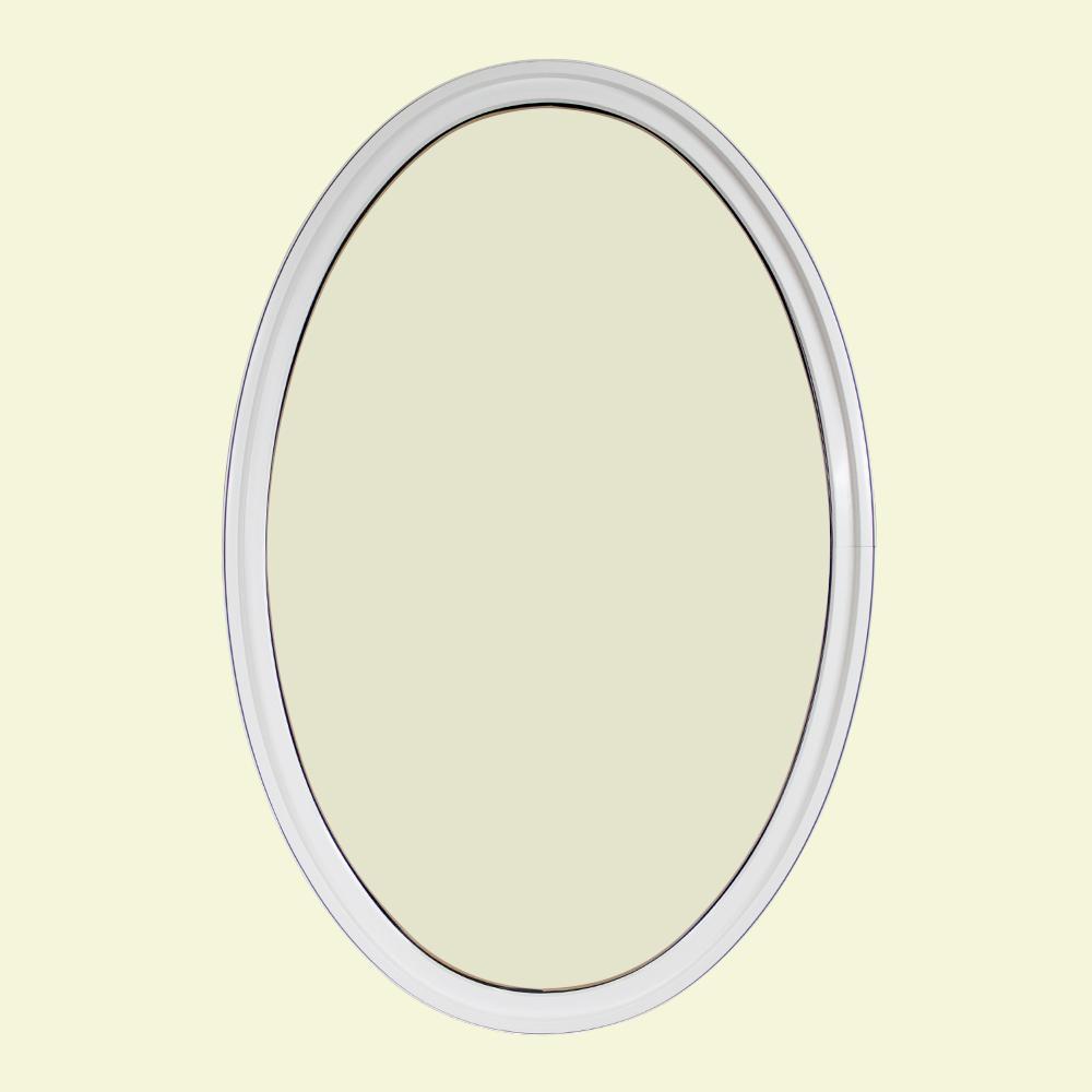 24 in. x 36 in. Oval White 6-9/16 in. Jamb Geometric