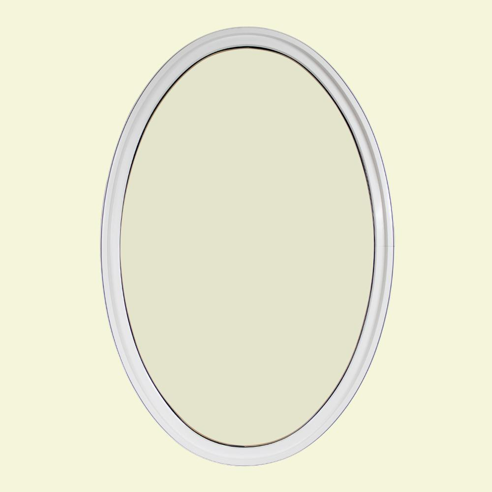 36 in. x 60 in. Oval White 6-9/16 in. Jamb Geometric