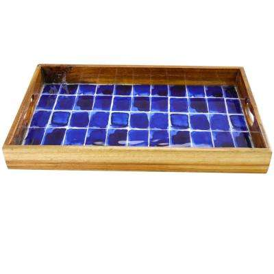 Mozambique 17 in. Blue Brick Enameled Serving Tray