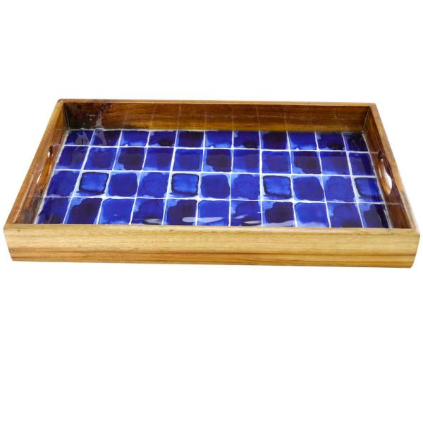 GIBSON elite Mozambique 17 in. Blue Brick Enameled Serving Tray 985105283M