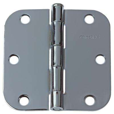 3-1/2 in. Polished Chrome Steel Door Hinge 5/8 in. Corner Radius with Screws (12-Pack)