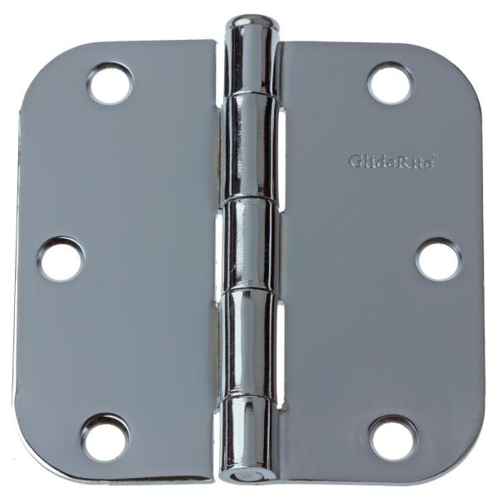 3-1/2 in. Polished Chrome Steel Door Hinges 5/8 in. Corner Radius with Screws (24-Pack)