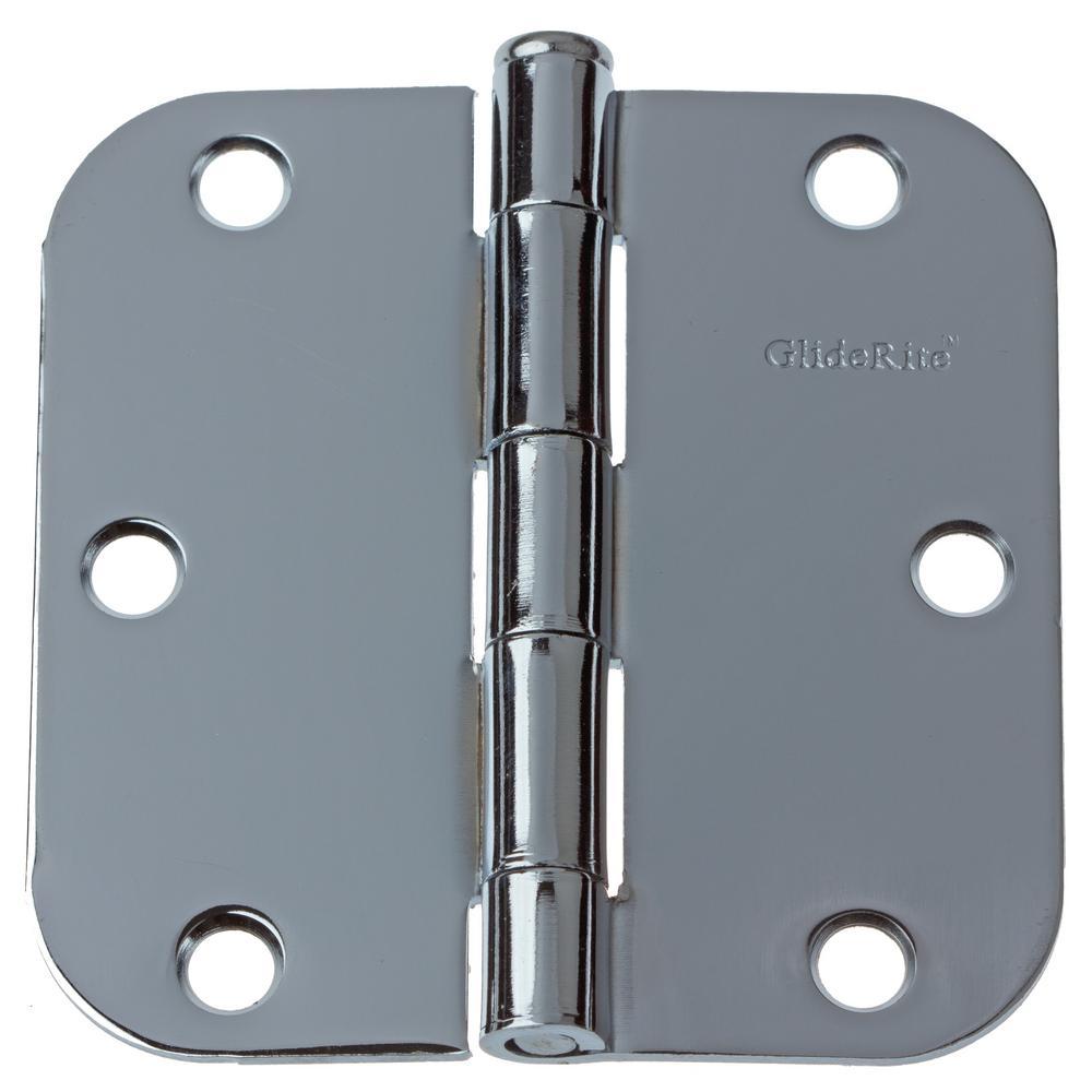 3-1/2 in. Polished Chrome Steel Door Hinges 5/8 in. Corner Radius with Screws (48-Pack)