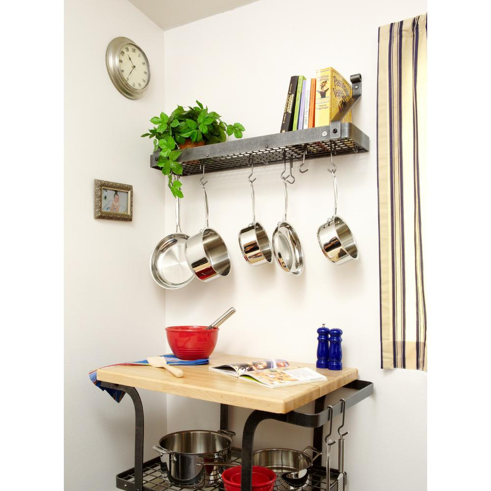 Gourmet Bookshelf Wall Rack With 12 Hooks Hammered