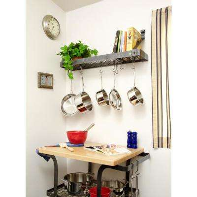 Premier Bookshelf Wall Pot Rack in Hammered Steel