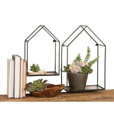 House 1-Shelf Antique Copper Wall Shelves (Set of 2)