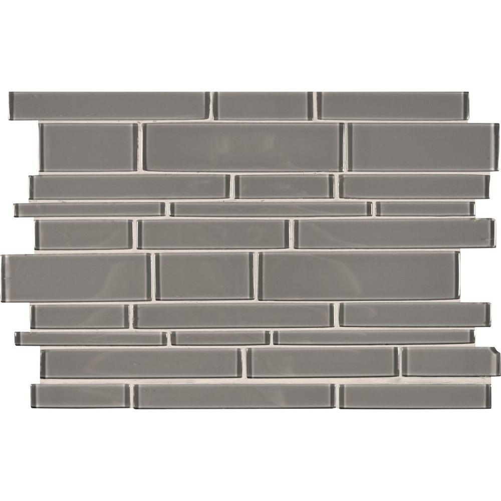 Pebble interlocking 12 in x 18 in x 8 mm glass stone for Installing glass tile with mesh back