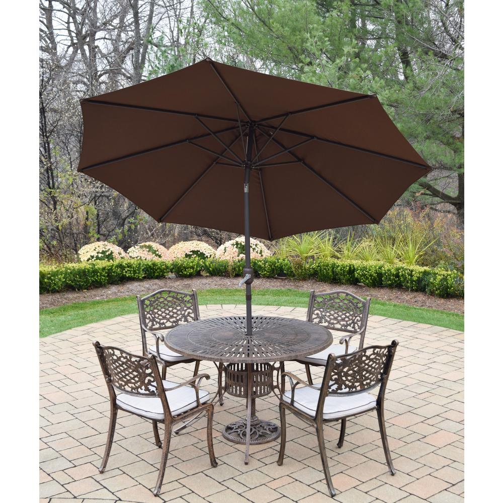 7-Piece Aluminum Outdoor Dining Set with Oatmeal Cushions and Brown Umbrella