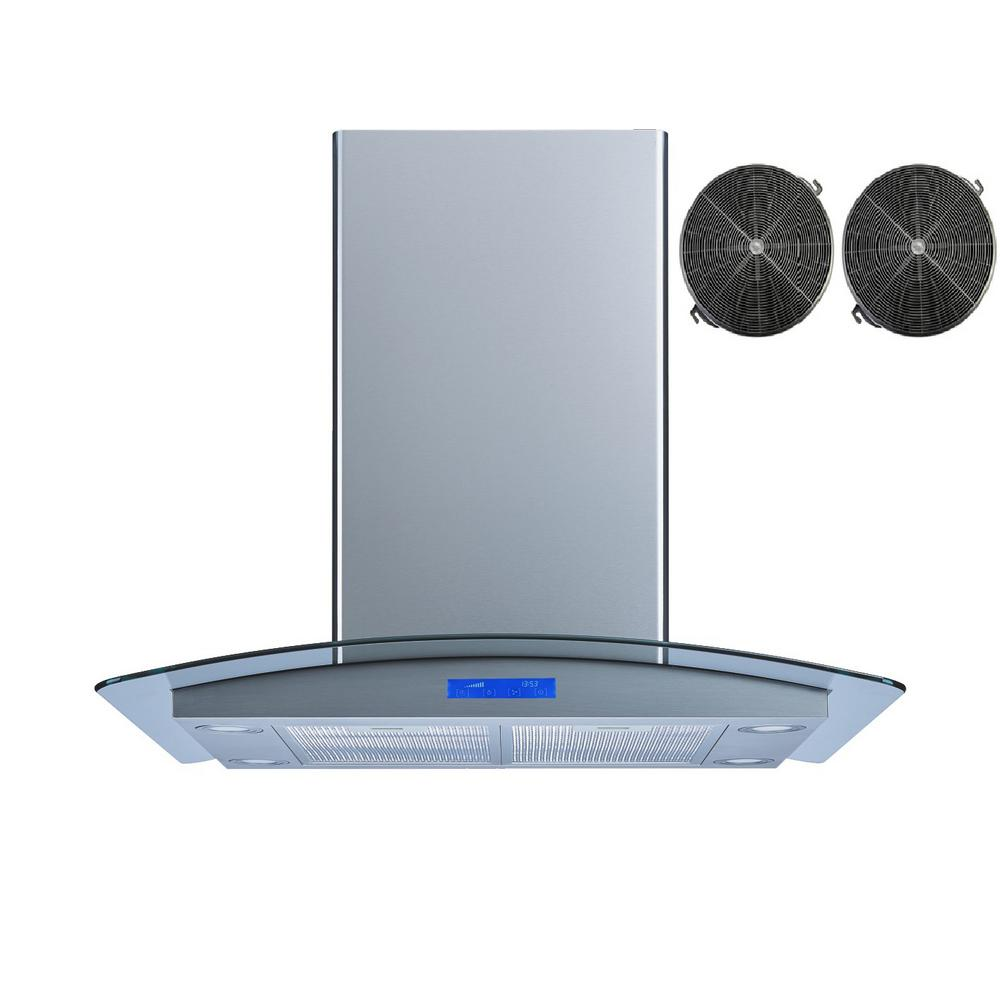 30 in. Convertible Island Mount Range Hood in Stainless Steel and