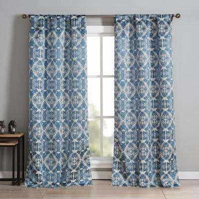 Vivyan 37 in. W x 84 in. L Polyester Window Panel in Blue