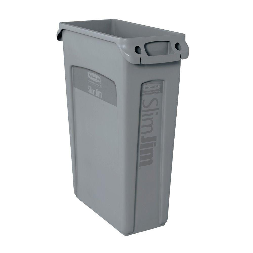 Rubbermaid Commercial Products Slim Jim 23 Gal Gray Vented Trash Can 2001581 The Home Depot