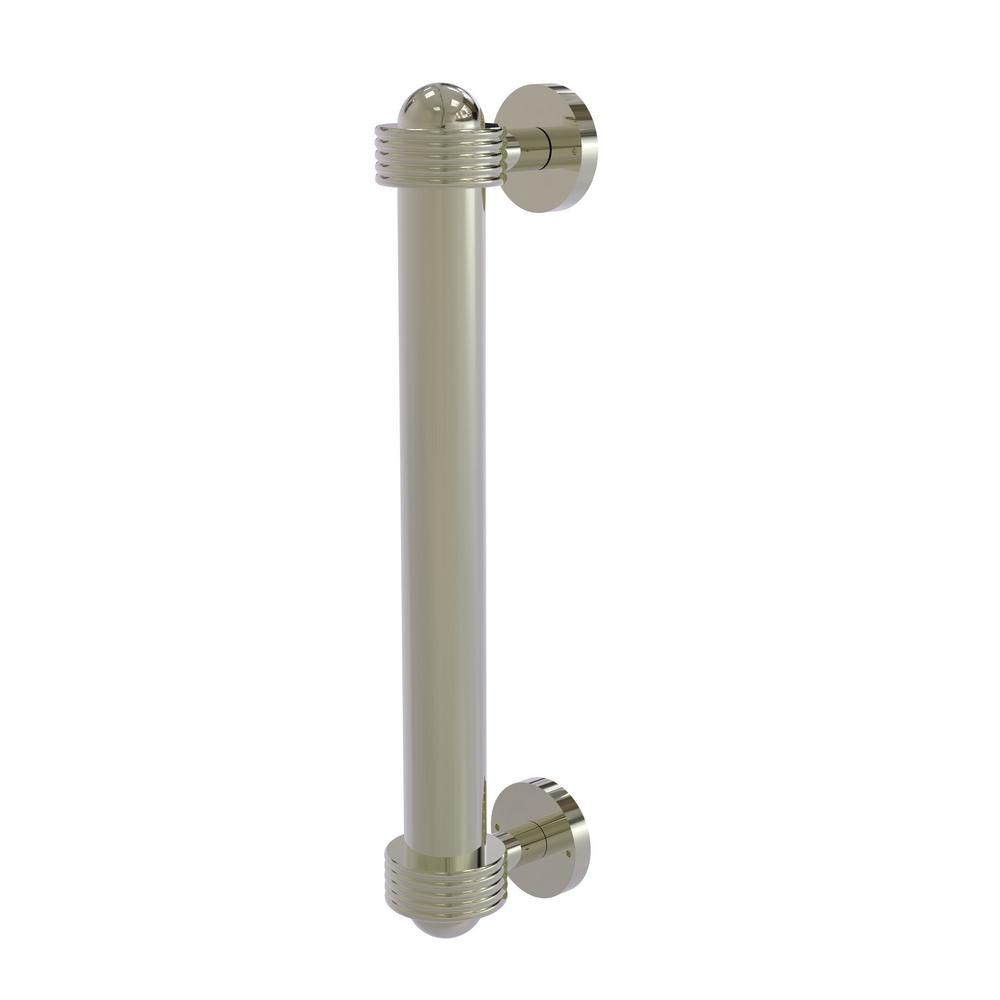 8 in. Door Pull with Groovy Accents in Polished Nickel