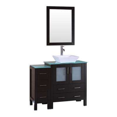 42 in. W Single Bath Vanity with Tempered Glass Vanity Top in Green with White Basin and Mirror