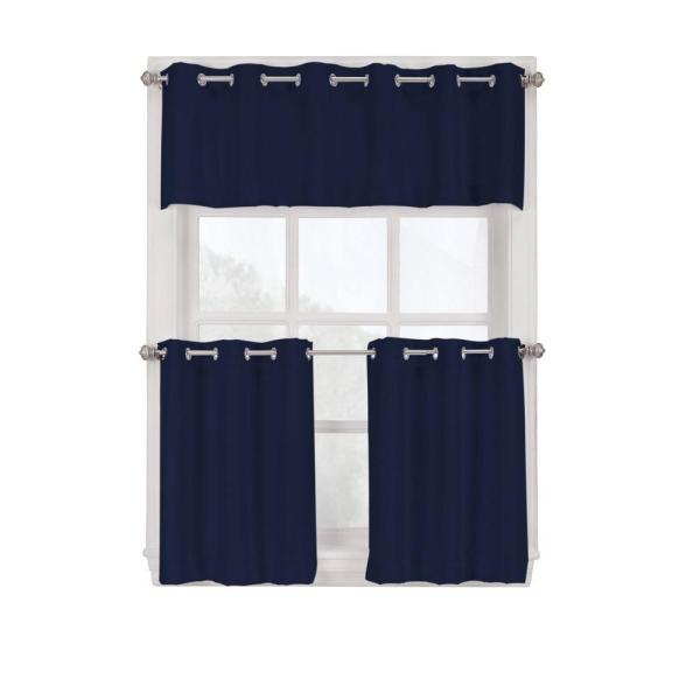 Semi-Opaque Navy Montego Grommet Curtain Tiers, 56 in. W x 36 in. L