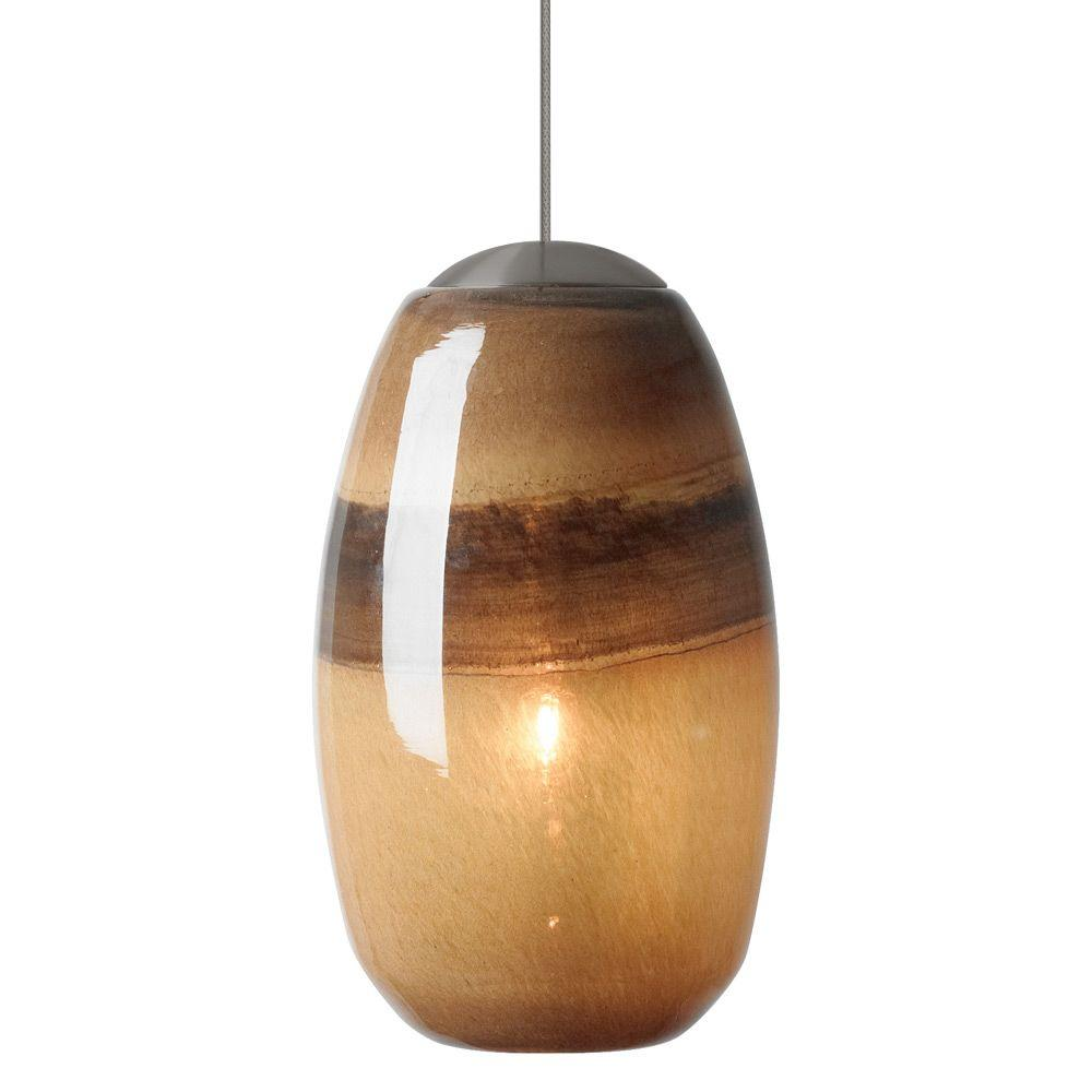 LBL Lighting Emi 1-Light Bronze LED Mini Pendant with Chocolate/Brown Shade