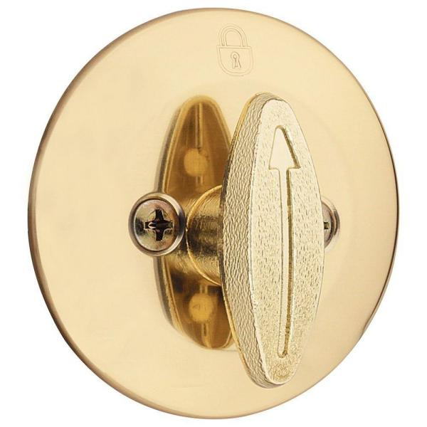 663 Single-Sided Deadbolt in Polished Brass with Microban Antimicrobial Technology
