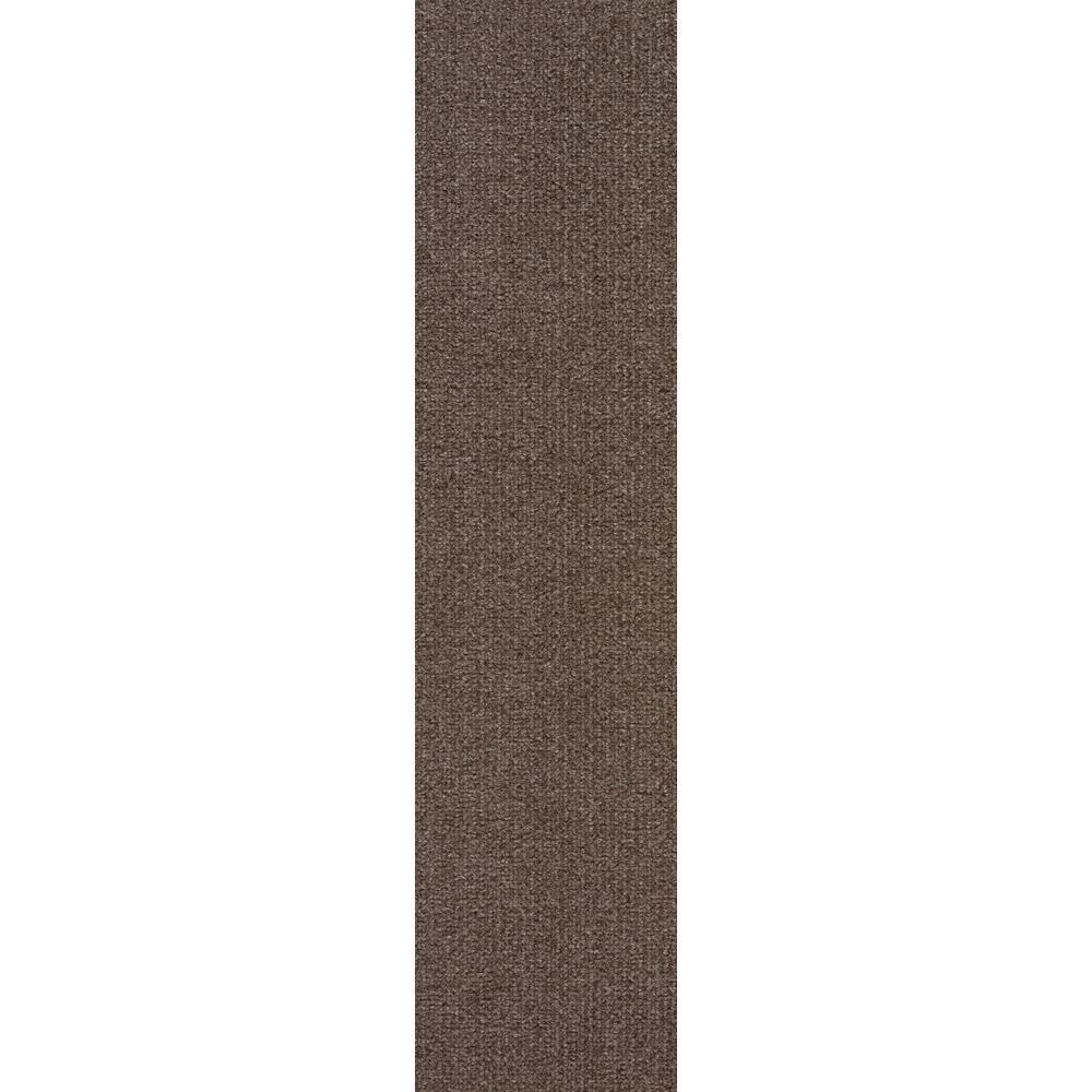 Premium Self-Stick Espresso High low Planks 9 in. x 36 in. In/Outdoor Carpet (16 Tiles/36 sq. ft./case)