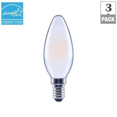 60-Watt Equivalent B11 E12 Base Dimmable Frosted Filament LED Light Bulb, Soft White (3-Pack)