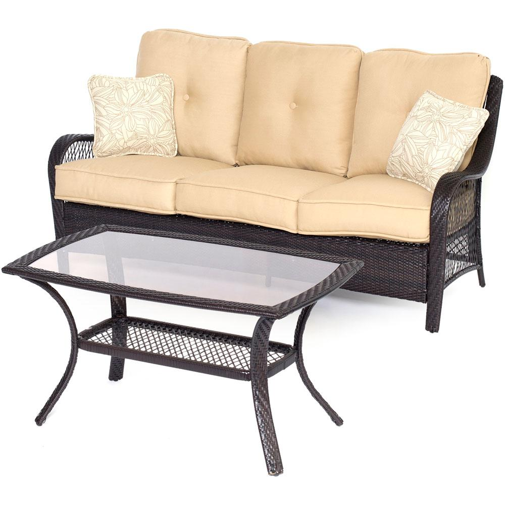 Orleans Brown 2-Piece All-Weather Wicker Patio Conversation Set with Sahara Sand
