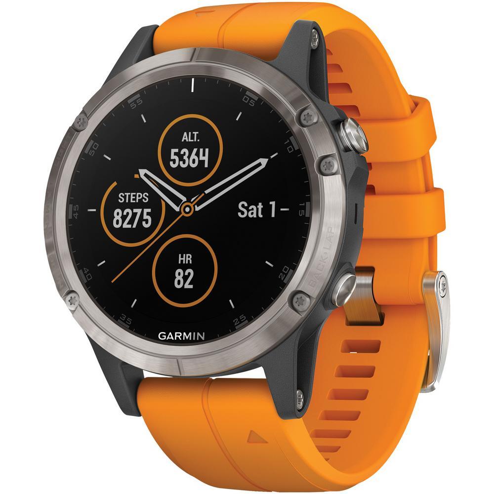 Garmin Fenix 5 Plus Sapphire Edition Orange Multi-Sport GPS Watch for Medium Wrists