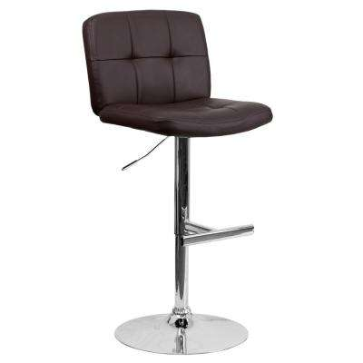 34 in. Adjustable Height Brown Cushioned Bar Stool