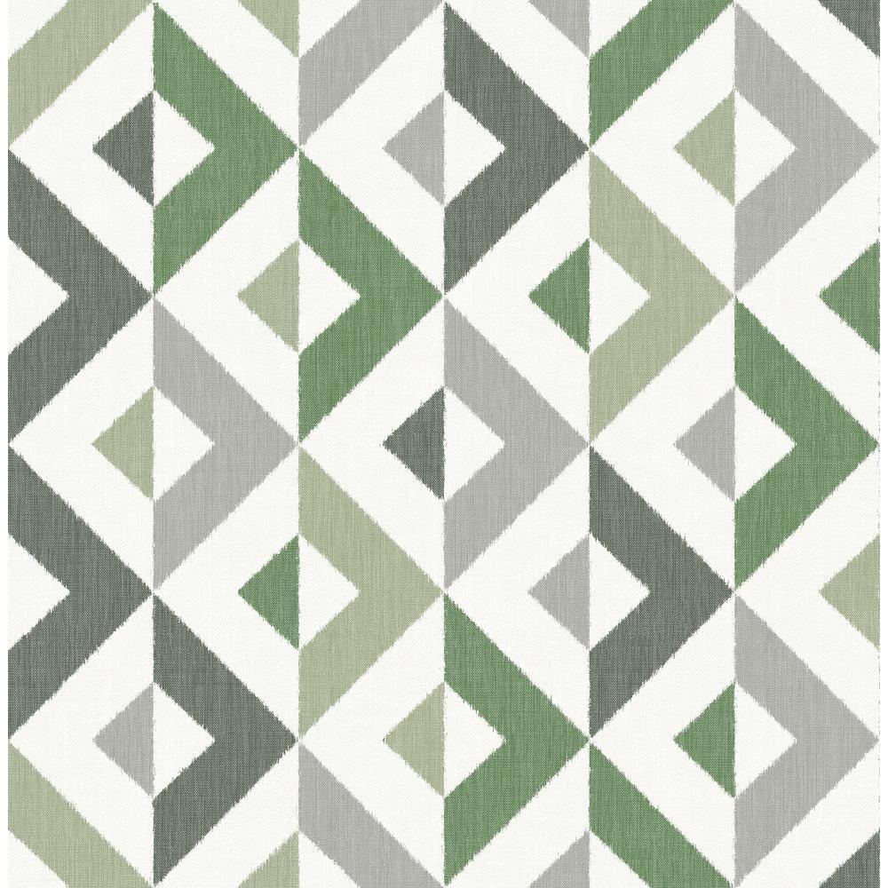 Wallpaper Designer Gray Square Geometric Trellis on Light Beige Taupe Faux Linen